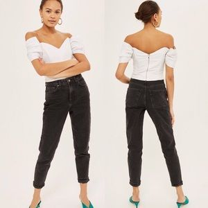 Topshop Moto Mom Jeans High Rise Washed Black